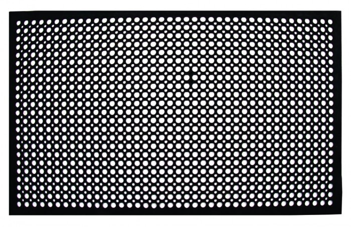 Update International FM-35B Black Anti-Fatigue Rubber Service Mat 3' x 5' - 25 pcs