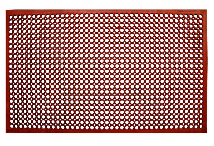 Update International FM-35R Red Anti-Fatigue Rubber Service Mat 3' x 5' - 25 pcs