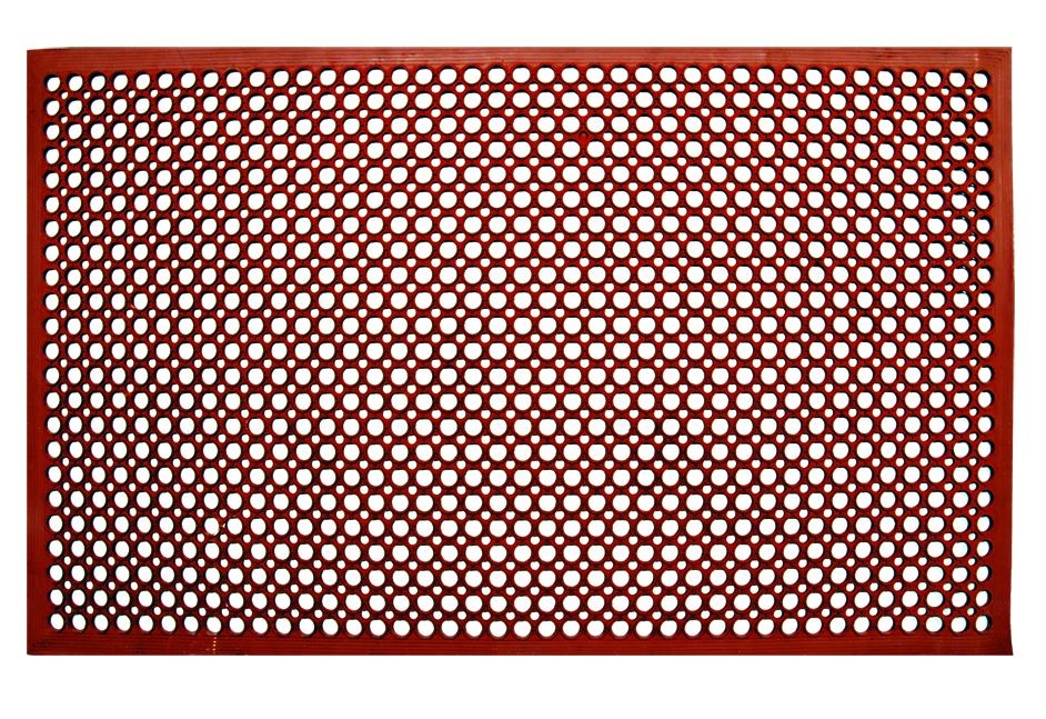 Update International FM-35R Red Anti-Fatigue Rubber Service Mat 3' x 5'