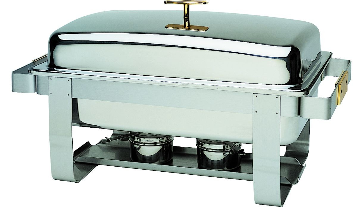 Update International GC-7 Stainless Steel Rectangular Gold-Accented Grandeur Chafer 8 Qt.