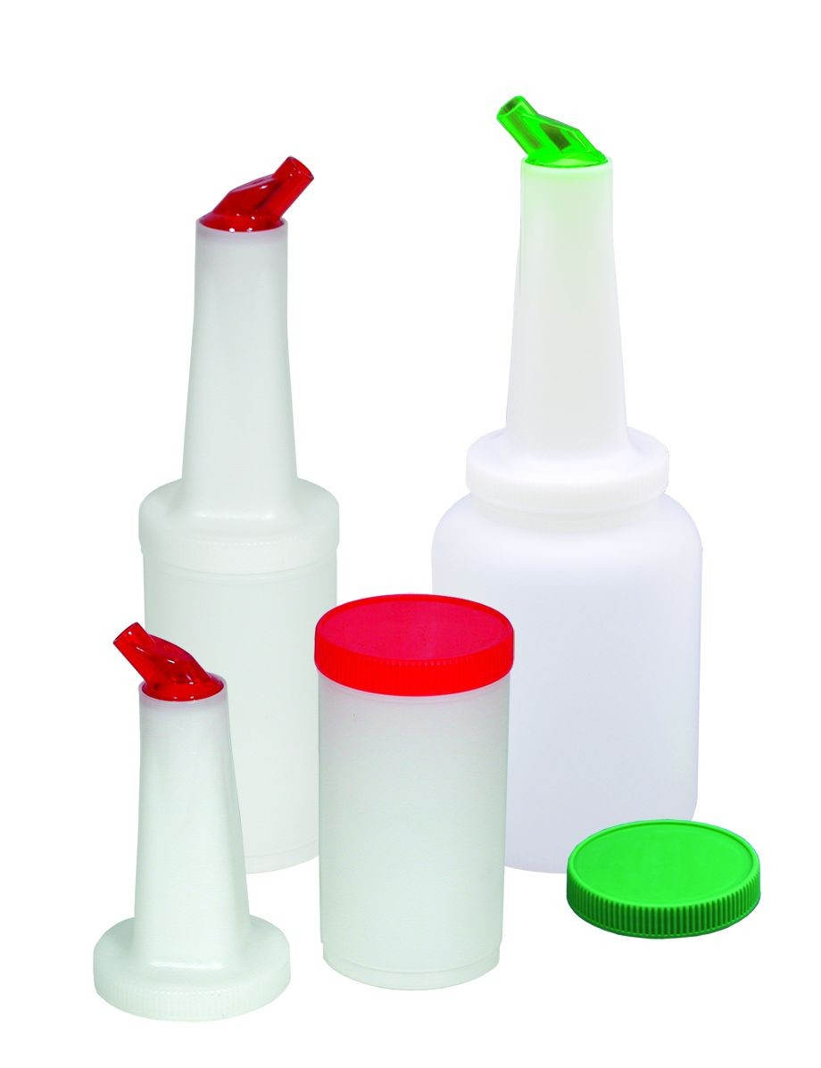 Update International PBA-20 2 Qt. Pour Bottle with Assorted Color Lids - 6 pcs