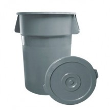 Update International TC-44G 44 Gallon Gray Plastic Trash Can - 1/2 doz