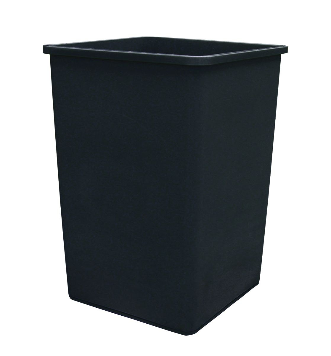 Update International TCSQ-35B Black Square 35 Gallon Plastic Trash Can