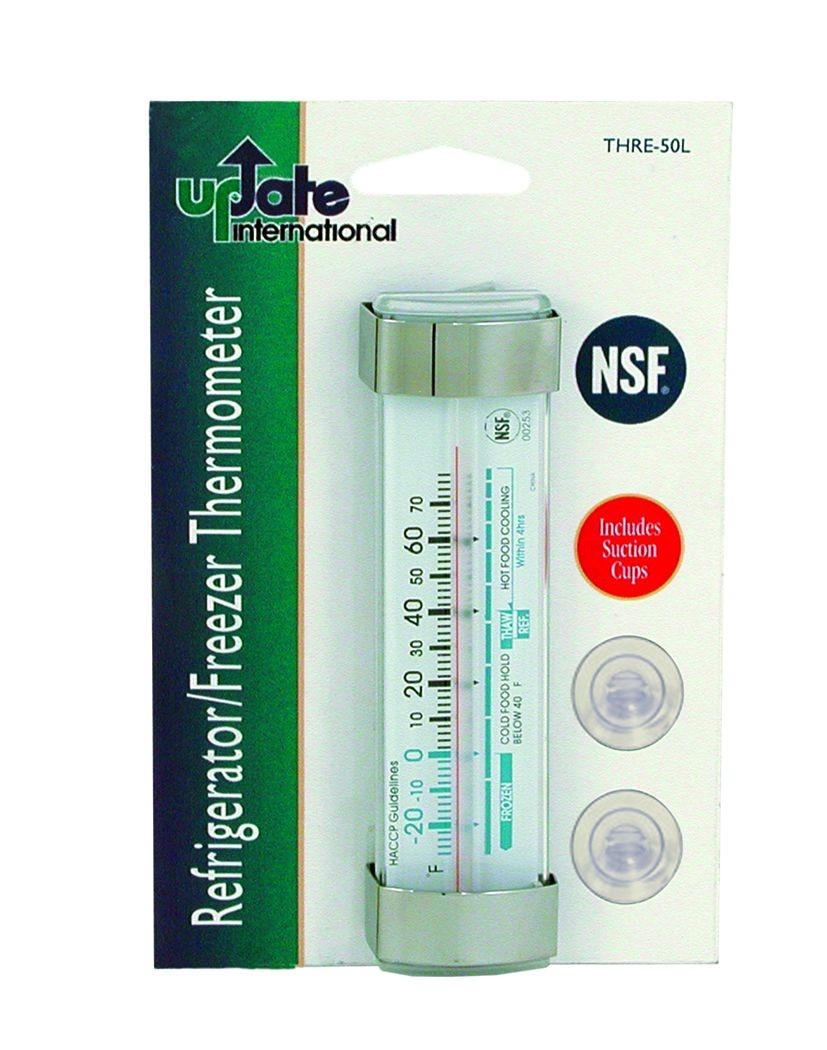 Update International THRE-50L Glass Tube Refrigerator Thermometer 4-1/2""