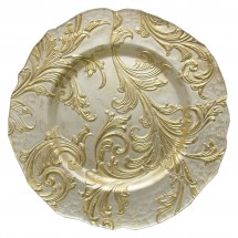 The Jay Companies 1900049 Round Vanessa Gold Glass Charger Plate 13""