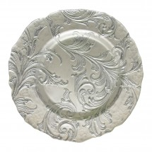 The Jay Companies 1900050 Round Vanessa Silver Glass Charger Plate 13""