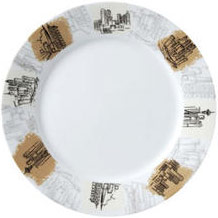 "Vertex China ARG-21-CS Argyle-Catalina Plate with City Scapes Design 12"" - 1 doz"