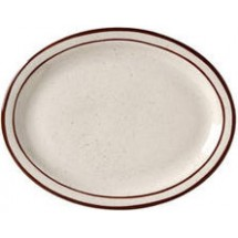 Vertex China CRV-14 Caravan Brown Speckled Double Band Platter 13-1/4'' - 1 doz