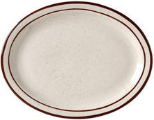 Vertex China CRV-12 9-1/2''  Brown Speckled Double Band Platter - 2 doz