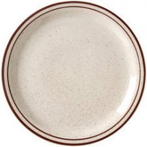 Vertex China CRV-16 10-1/2'' Brown Speckled Double Band Plate - 1 doz