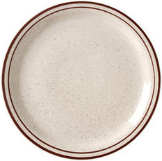 Vertex China CRV-8 9'' Brown Speckled Double Band Plate - 2 doz