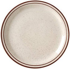 Vertex China CRV-9 9-1/2'' Brown Speckled Double Band Plate - 2 doz