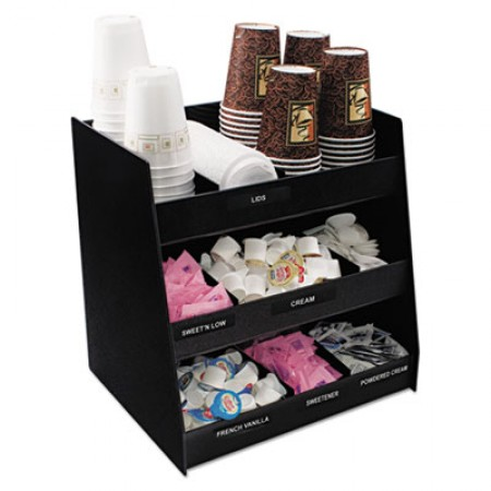 Vertiflex Vertical 9-Compartment Black Condiment Organizer