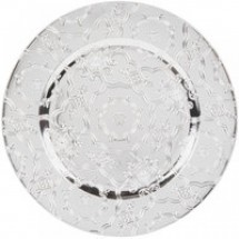 """The Jay Companies 1270250-4 Round Silver Vintage Charger Plate 13"""""""