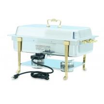 Vollrath 46040 Classic Brass Trim  Full Size Long Side Plug Electric Chafer 9 Qt.
