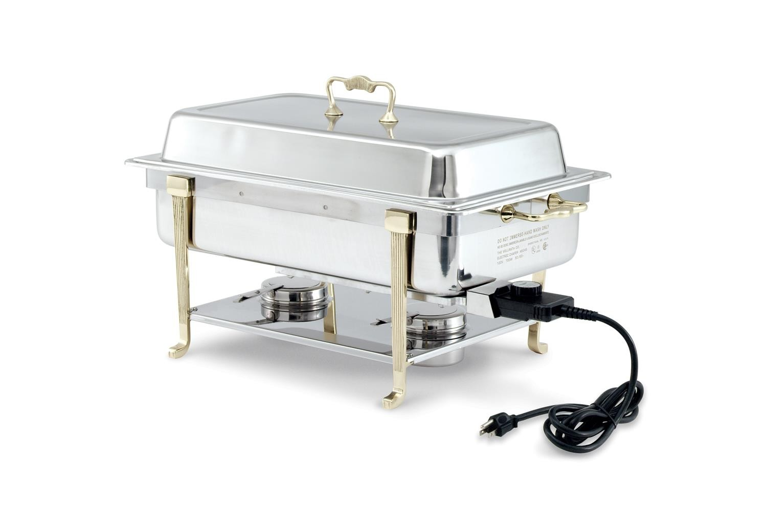 Vollrath 46045 Classic Brass Trim Full Size Short Side Plug Electric Chafer 9 Qt.