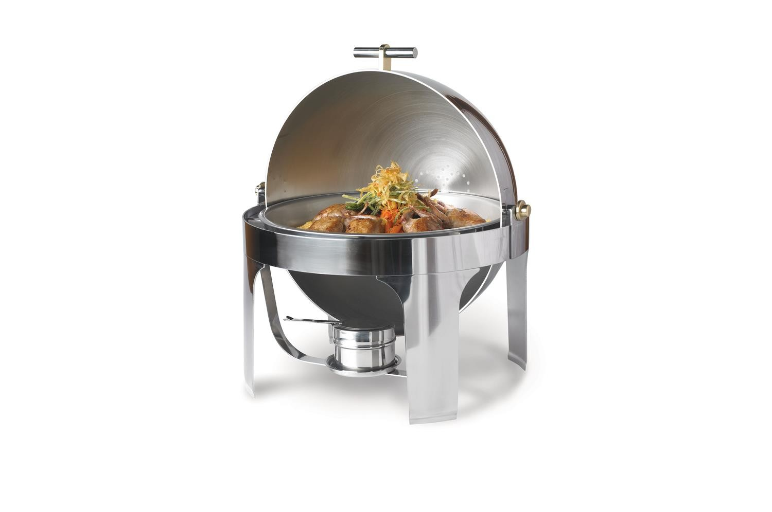 Vollrath 46070 New York New York Round Roll Top Chafer with Brass Trim 6 Qt.
