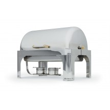 Vollrath 46080 New York, New York Roll Top Full Size Chafer with Brass Trim 9 Qt.