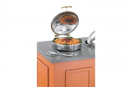 Vollrath 46121 Intrigue Solid Top Round Induction Chafer with Brass Trim and Stainless Steel Food Pan 6 Qt.