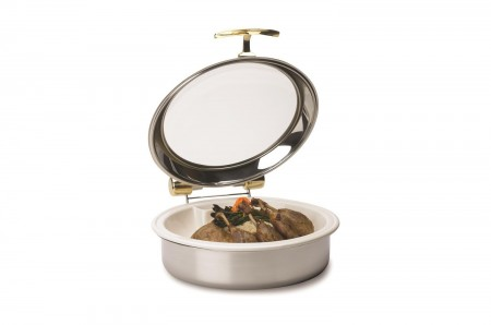 Vollrath 46122 Intrigue Round Induction Chafer with Stainless Steel Trim and Porcelain Food Pan 6 Qt.