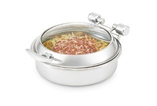 Vollrath 46126 Replacement Glass Lid with Brass Trim for Intrigue Round Induction Chafer 6 Qt.