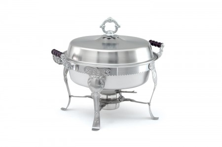 Vollrath 46860 Royal Crest Round Chafer with Wood Handles 5.8 Qt.