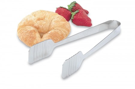 Vollrath 47107 Tender-Touch Stainless Steel Flat Pastry Tongs 9-1/4""