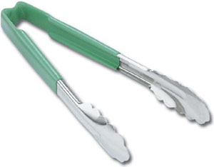 Vollrath 4780970 Kool-Touch Utility Tong with Green Handle 9-1/2""