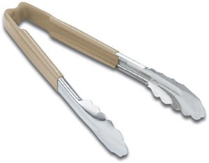 """Vollrath 4781660 Jacob's Pride Stainless Steel Scalloped Tongs with Tan Coated Kool Touch Handle 16"""""""