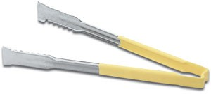 """Vollrath 4790950 Jacob's Pride Stainless Steel VersaGrip Tongs with Yellow Coated Kool-Touch Handle 9-1/2"""""""