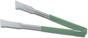"""Vollrath 4790970 Kool-Touch VersaGrip Tong with Green Handle 9-1/2"""""""