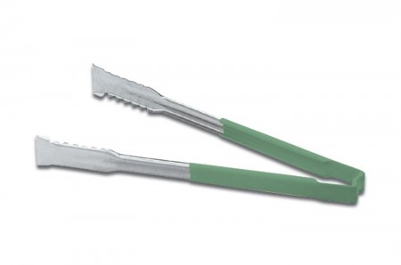 Vollrath 4791270 Jacob's Pride Stainless Steel VersaGrip Tongs with Green Coated Kool-Touch Handle 12""