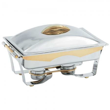 Vollrath 48322 Panacea Rectangular Chafer Full Size with Gold Accents 9 Qt.