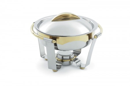 Vollrath 48323 Panacea Medium Round Chafer with Gold Accents 4.2 Qt.
