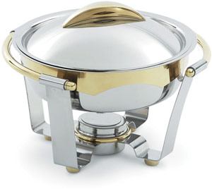 Vollrath 48324 Panacea Large Round Chafer with Gold Accents 6 Qt.