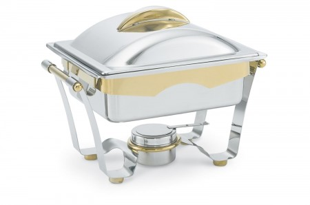 Vollrath 48329 Panacea Rectangular Chafer Half Size with Gold Accents 4.1 Qt.
