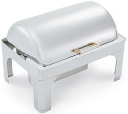 Vollrath 48755 Silverplated New York, New York Retractable Dripless Full Size Chafer with Brass Trim 9 Qt.