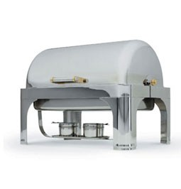Vollrath 48780 Silverplated New York New York Oblong Roll Top Chafer 9 Qt.