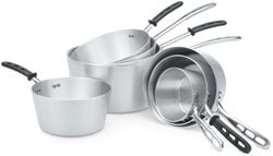Vollrath 67308 Wear-Ever Natural Finish Tapered Sauce Pan with TriVent Chrome Plated Handle and Helper Handle 8.5 Qt.