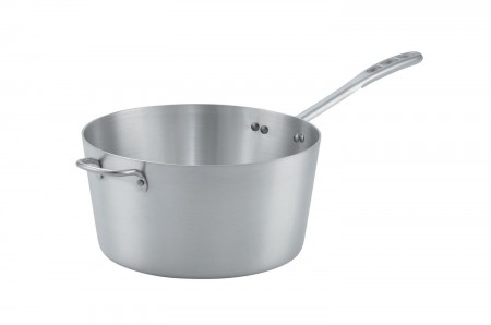 Vollrath 67310 Wear-Ever Natural Finish Tapered Sauce Pan with TriVent Chrome Plated Handle and Helper Handle 10 Qt.