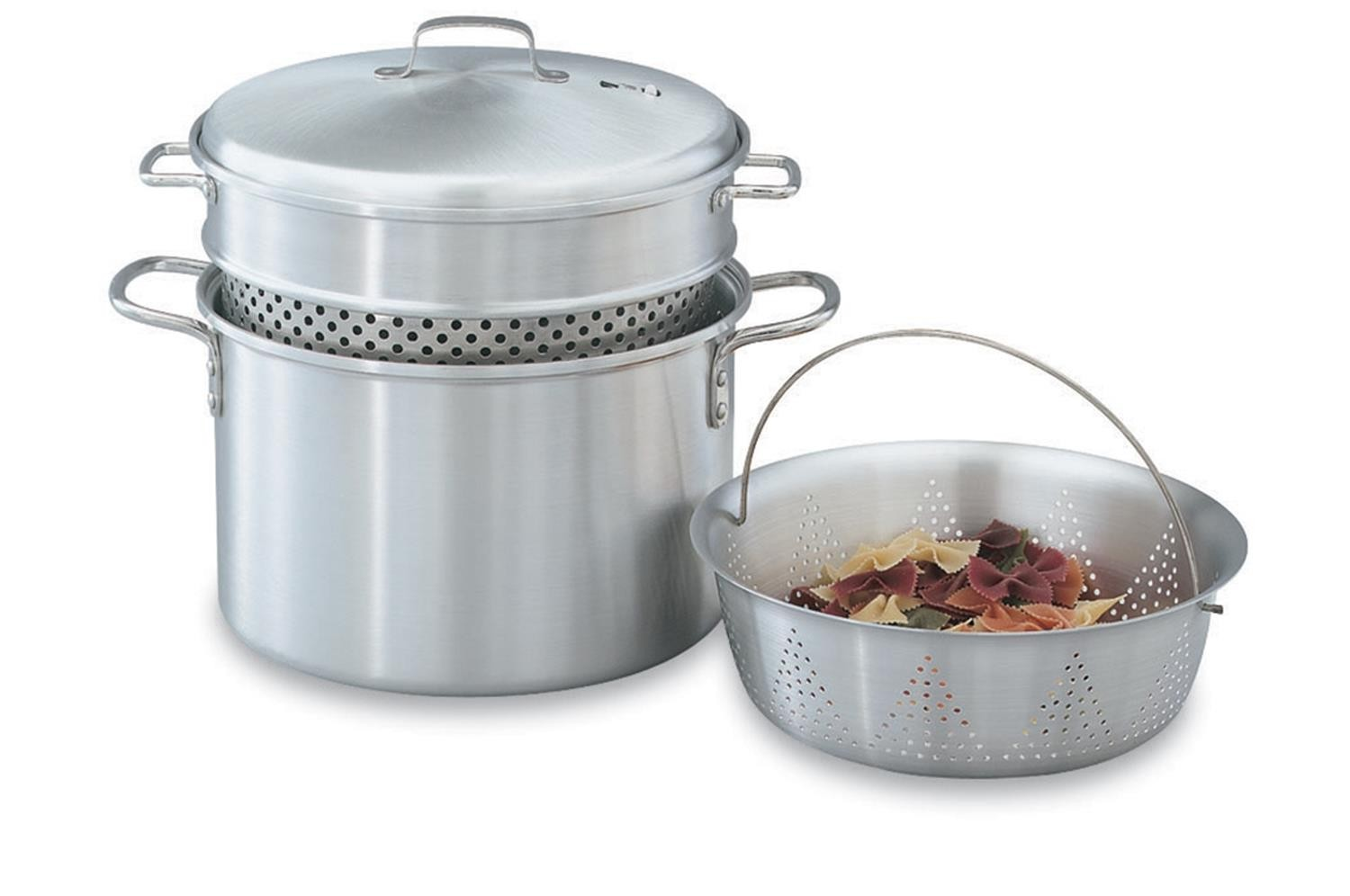 Vollrath 68126 Aluminum Pasta Cooker / Vegetable Steamer Set 8 Qt.