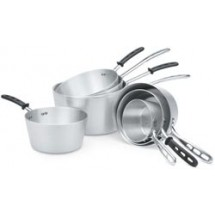 Vollrath 68310 Wear-Ever Natural Finish Tapered Sauce Pan with TriVent Silicone Handle and Helper Handle 10 Qt.