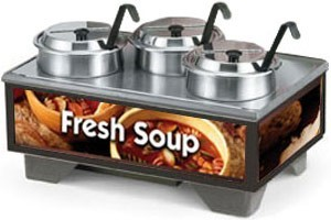 Vollrath 720201003 Full Size Soup Merchandiser Base with 4 Qt. Accessory Pack and Country Kitchen Graphics