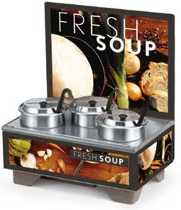 Vollrath 720201102 Full Size Soup Merchandiser Base with Menu Board, 4 Qt. Accessory Pack, and Tuscan Graphics