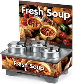 Vollrath 720201103 Full Size Soup Merchandiser Base with Menu Board, 4 Qt. Accessory Pack, and Country Kitchen Graphics