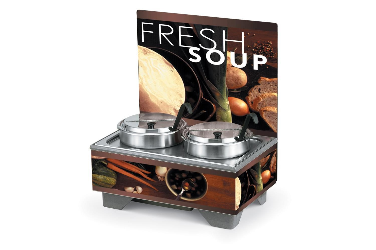 Vollrath 720202102 Full Size Soup Warmer Merchandiser with Menu Board & 7 Qt Accessories-Tuscan Graphics