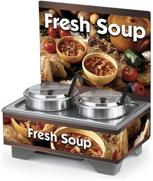 Vollrath 720202103 Full Size Soup Warmer Merchandiser with Menu Board & 7 Qt Accessories-Country Kitchen Graphics
