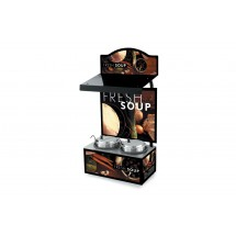 Vollrath 7203202 Twin Well Soup Merchandiser with Menu Board & Lighted Canopy