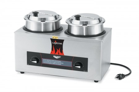 Vollrath 72040 Cayenne Twin Well Countertop Rethermalizer / Warmer Package with Insets and Covers 4 Qt.
