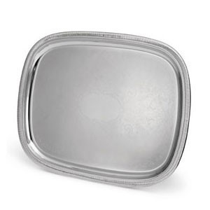 """Vollrath 82371 Elegant Reflections Silver Plated Stainless Steel Oblong Catering Tray 23-1/2"""" x 18-1/2"""""""